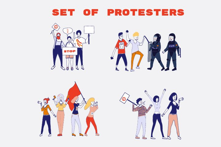 Set of protesters