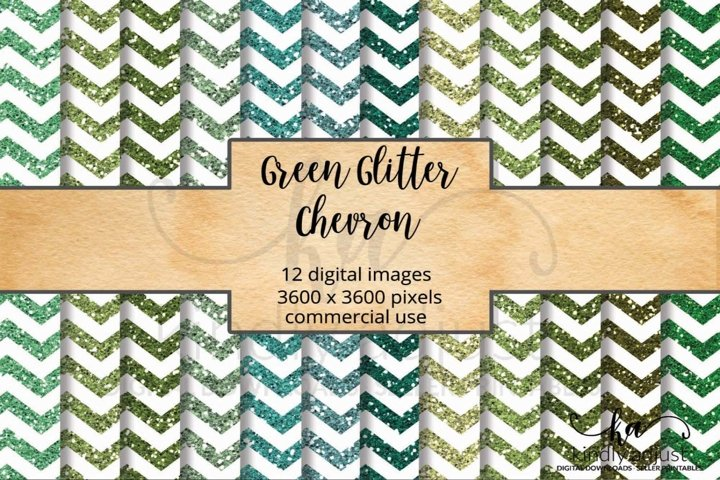 Green Glitter Chevron Digital Paper