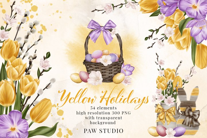 Easter Spring Clipart Yellow Tulips Willow Twigs Basket Eggs