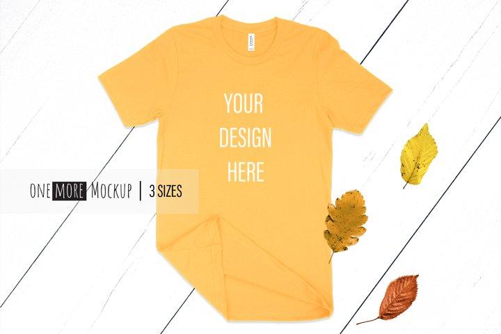 Fall T-Shirt Mockup I Bella Canvas 3001 Gold Mockup