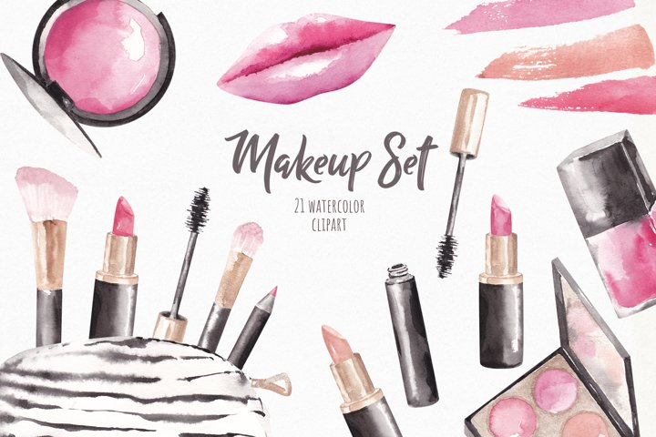Watercolor Beauty Clipart, Makeup Set