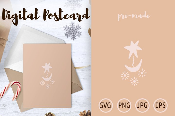 Star with Crescent Moon Postcard - Poster hand drawn svg