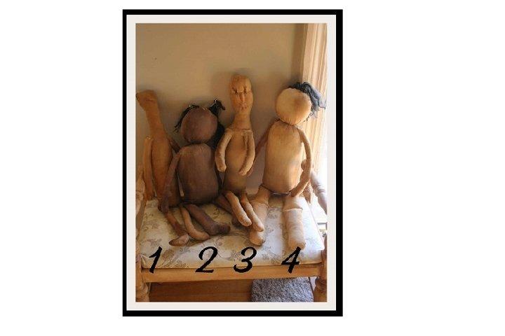 4 Primitive Assorted Rag Doll Patterns