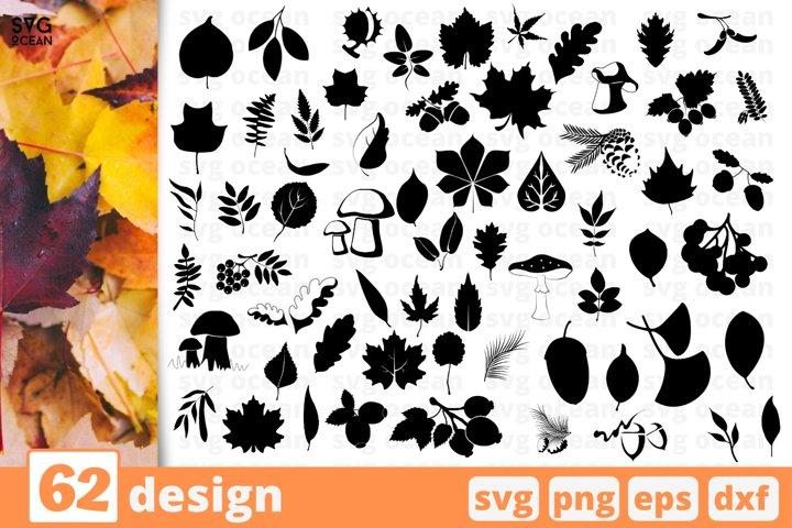 62 FALL LEAVES SVG BUNDLE | Fall cricut | Autumn clipart
