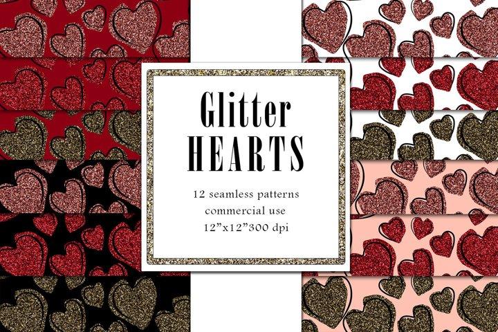 Valentine Digital Paper, Glitter Heart Pattern