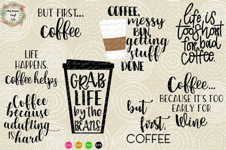 Coffee Bundle SVG Png Dxf EPS - 9 designs
