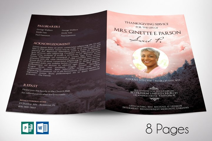 Peach Sky Funeral Program Word Publisher Template
