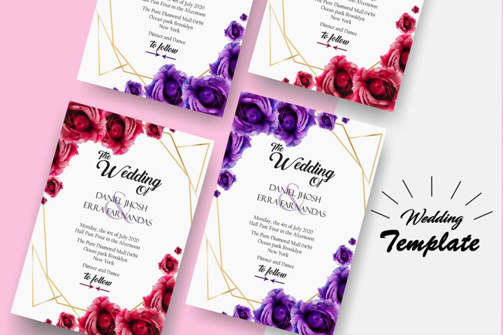 wedding poster Template mockup psd File