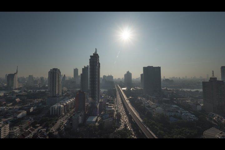 Bangkok city view at bright sunshine, Thailand
