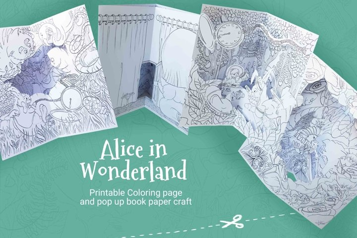 Alice in Wonderland pop up book coloring pages