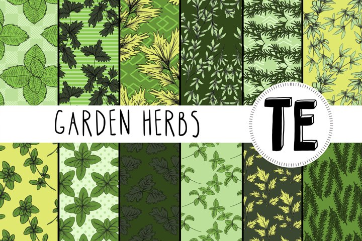 Garden Herbs Digital Paper Pack. 12 Seamless Patterns.