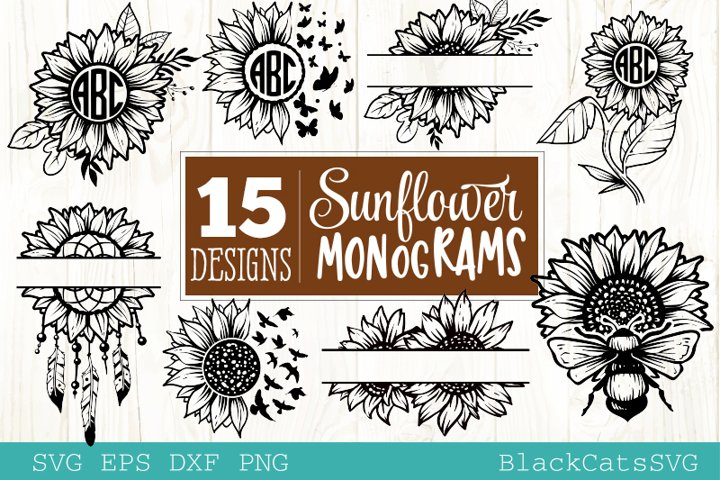 Sunflower monograms SVG bundle 15 designs