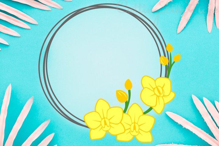 Orchid frame svg, Floral frame svg, Circle frame svg