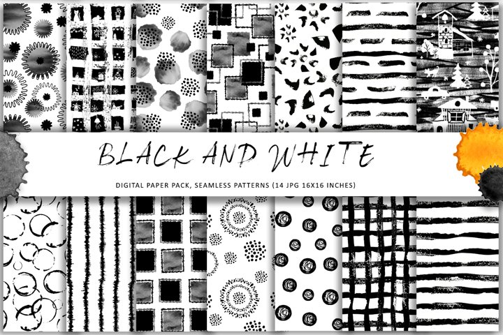 Black and white elements seamless pattern. Digital papers