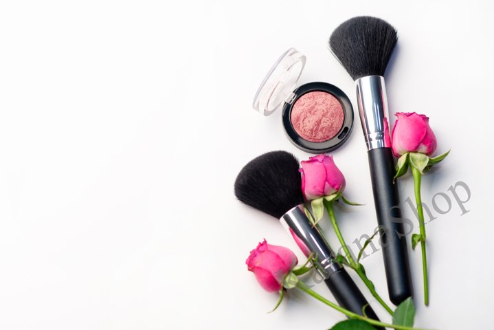Makeup cosmetics and flowers
