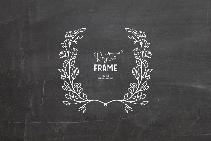 Hand-drawn floral digital stamp in white| Frame clipart