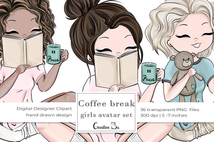 Coffee Break, Girls - Clipart