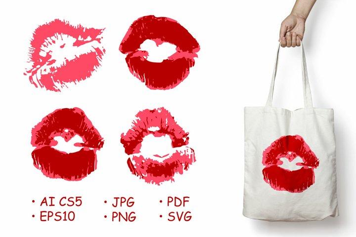 Vector set of illustrations. Lips, kisses