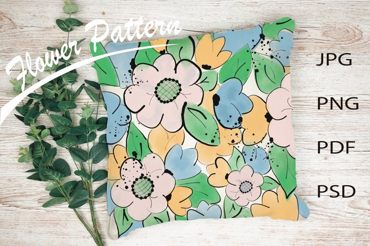 Flower pattern | Watercolor background