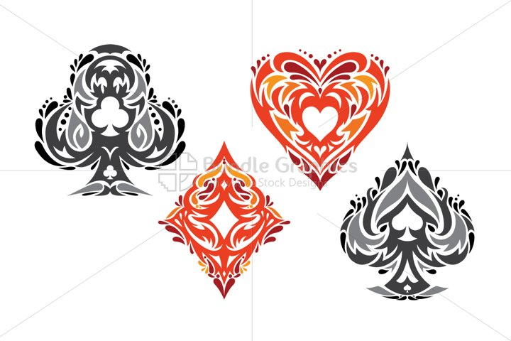 Playing Cards - Tribal Vector Symbols Set