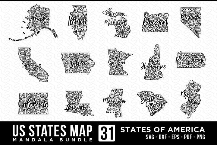 US States Map Bundle, States Maps Mandala Design