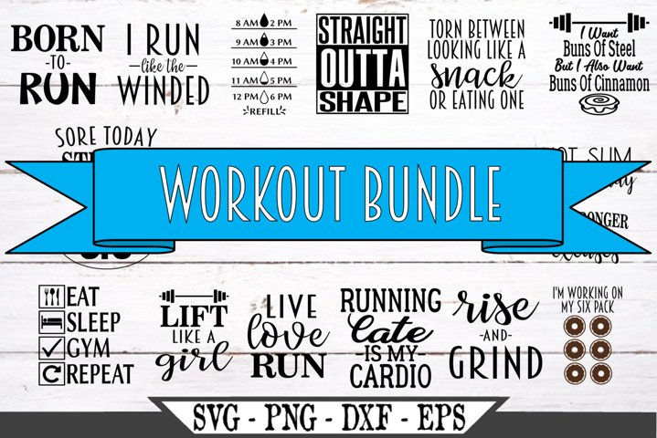Fitness Workout SVG Bundle of 16 New Years Resolution Weight