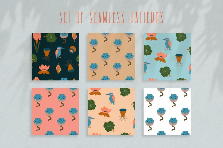 Seamless vector pattern with flowers, leaves and kingfisher