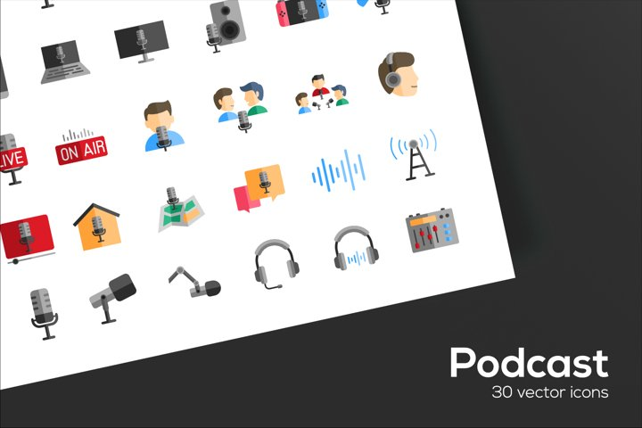 Podcast Icons Set