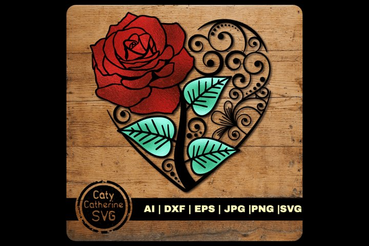 Love Heart with Rose SVG Cut File