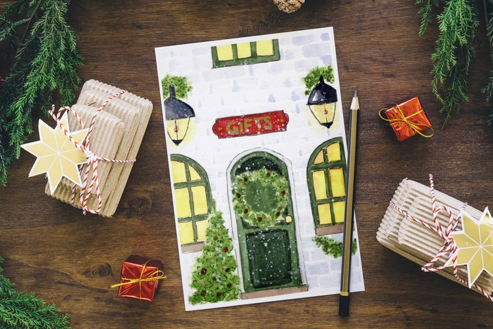 Watercolor Christmas Card. Christmas Eve. Cozy Home