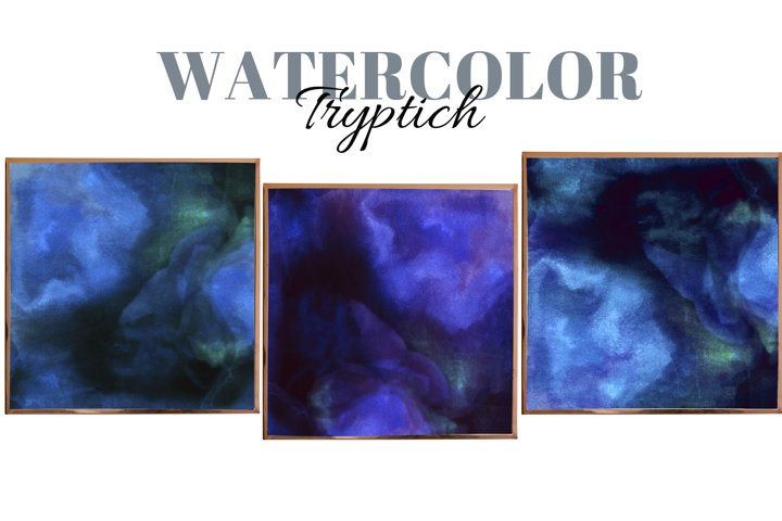 Liquid abstract wall art. Watercolor lodge art. Triptych