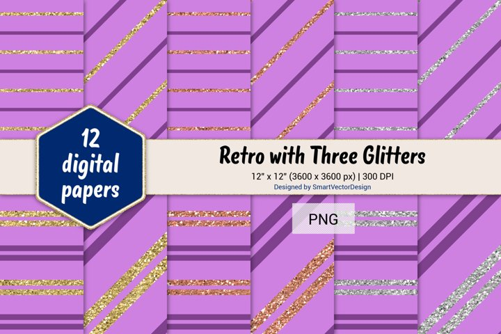 Pinstripes Retro with Three Glitters Color Combo #96