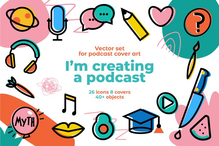 Podcast cover art set