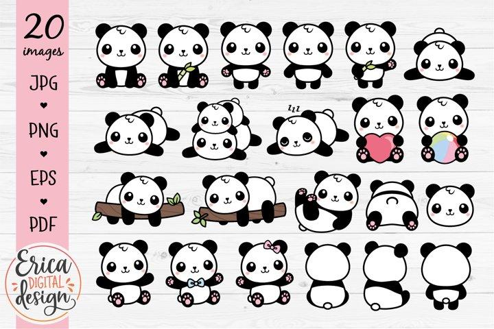 Panda Clipart Bundle 20 cute baby pandas Printable Stickers