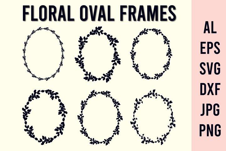 Floral wreath SVG | Oval frame SVG |Easter frame monogram