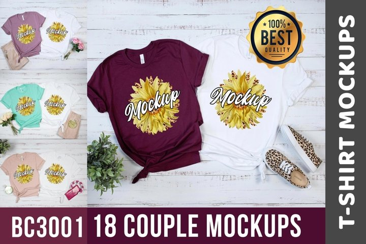 18 Mockups Bella Canvas 3001 Couple Flat Lay Mockups
