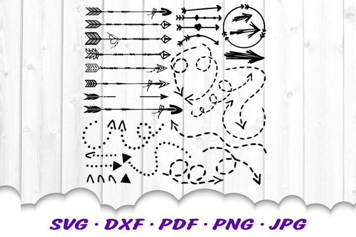 Arrow Dotted Dashed Hand Drawn SVG DXF Cut Files Bundle