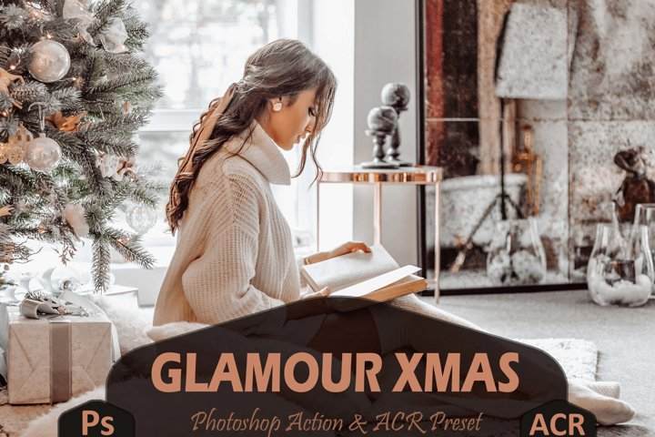 10 Glamour Xmas Photoshop Actions And ACR Presets, golden Ps