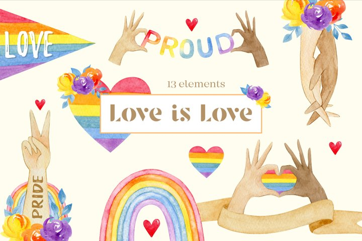 Rainbow LGBT clipart, pride flag, watercolor set