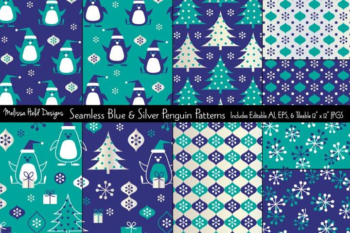 Seamless Blue & Silver Penguin Patterns