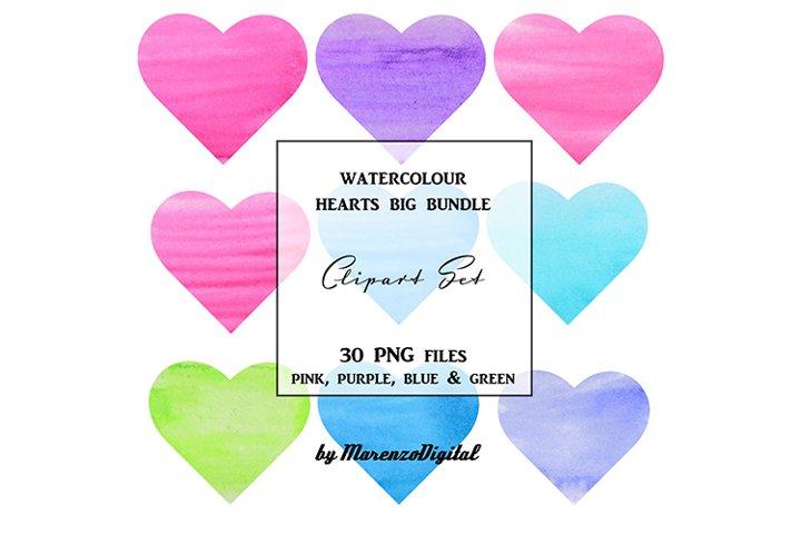 Watercolour Hearts Big Bundle - Multicolour