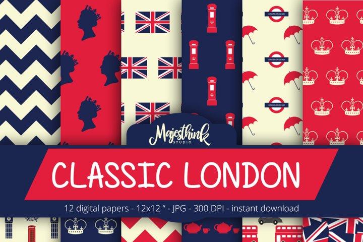 Classic London Pattern - with british flag london element, big ben, tea, phone booth, chevron
