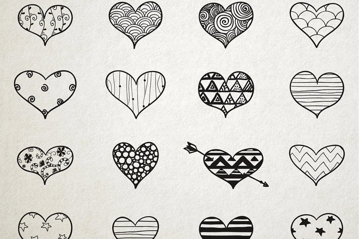 Hand Skeched Hearts. Romantic Set of Black Hand Drawn Hearts