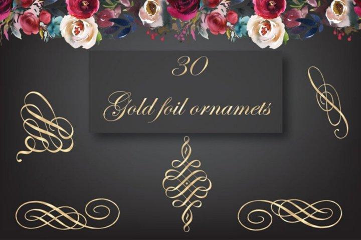 Gold foil design elements, Golden clipart, Decorative gold