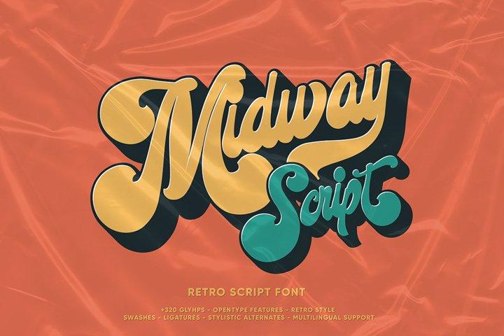 Midway   Retro Script Font