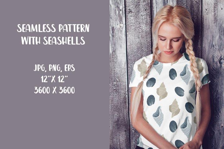 Seamless pattern with seashells, digital paper