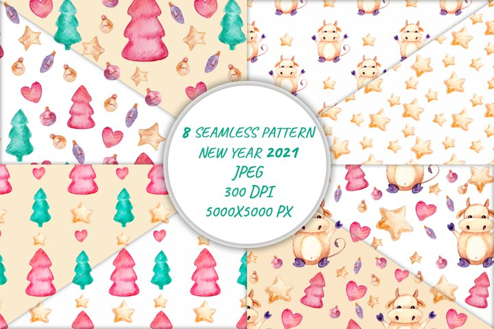 Seamless pattern with New Year 2021 symbol bull. Watercolor