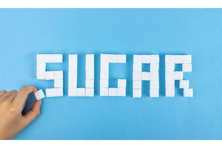 9 photos bundle. White Sugar Cubes Word SUGAR on Blue
