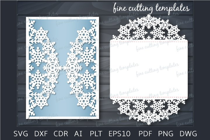Wedding or Christmas Invitation 5x7 card cutting template