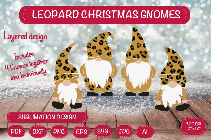 Leopard Christmas Gnomes. Gnome SVG.